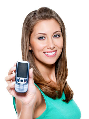 Closeup portrait of  young woman showing  mobile phone - isolated on white background