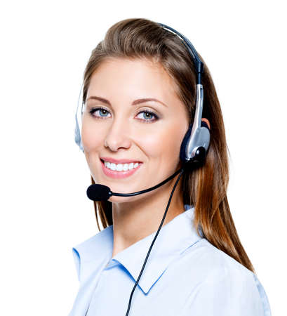 Face of beautiful smiling happy woman in headset Stock Photo - 7817283