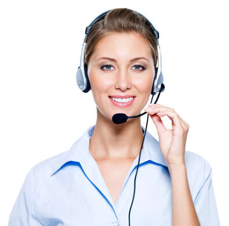 Face of beautiful smiling happy woman in headset Stock Photo - 7817278