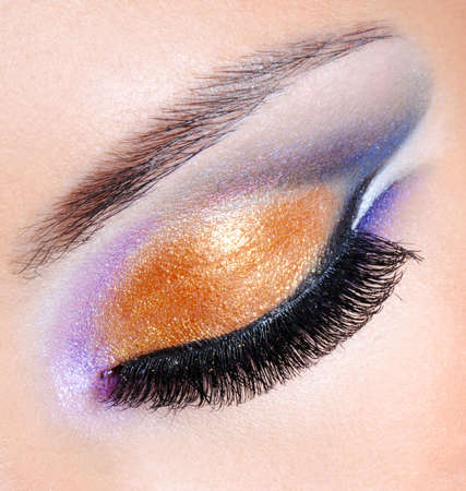 brightly: Brightly colors of a fashion makeup - macro shot