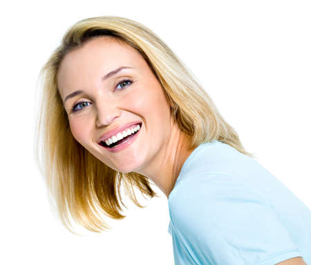 Beautiful laughing woman portrait on white background photo
