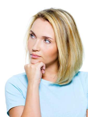 Portrait of a sad woman  looking away - isolatad on white photo