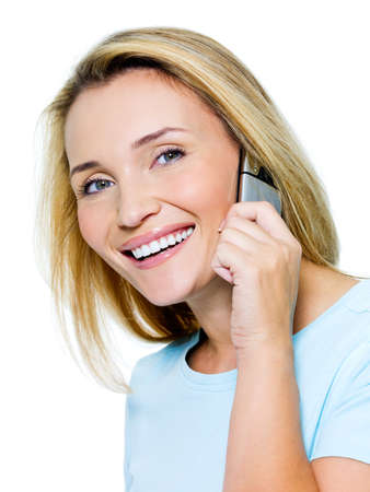 happy beautiful woman calling by phone isolated on white photo