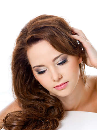 pretty woman with beauty hairs and glamour makeup - isolated photo