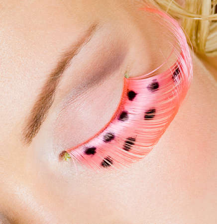 Pink eye make-up with false eyelashes - macro shot Stock Photo - 8041228