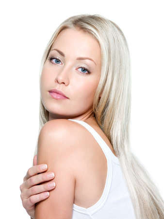 Beautiful young woman with long straight hair on a white background Stock Photo - 8041261