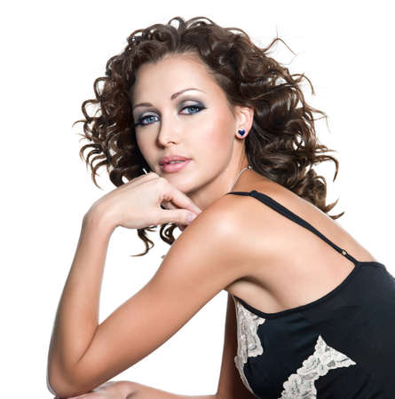 Beautiful fashion woman with glamour makeup and curly hair. Isolated on white Stock Photo - 8078601