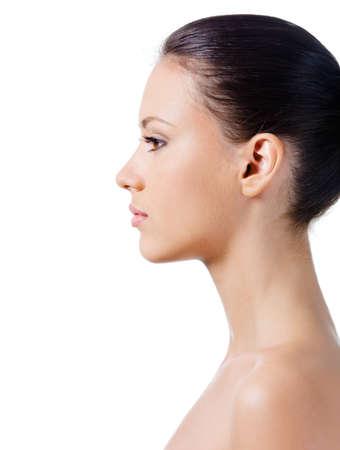 perfil de mujer rostro: Perfil de cara de joven y bella mujer con piel sana limpio
