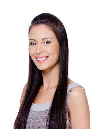 Portrait of young beautiful happy woman with brown long straight hair photo
