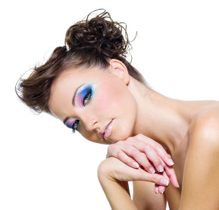Pretty young girl with sexy multi colored eyes - isoleted Stock Photo - 8078765