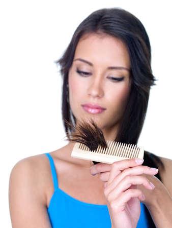 Split ends of brunette woman's long hair - close-up Stock Photo - 8197566