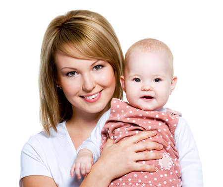 01: Portrait of a beautiful happy mother with baby  isolated on white Stock Photo