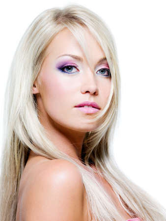 sensuality: Beautiful face with satured colors of make-up and straight long hair