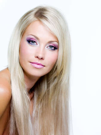 Beautiful face with satured colors of make-up and straight long hair Stock Photo - 8275363
