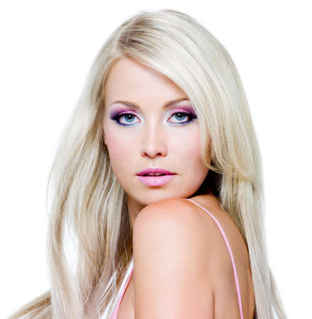 Beautiful face with satured colors of make-up and straight long hair Stock Photo - 8275344