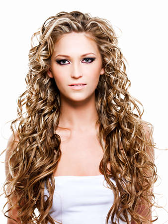 blonde curly hair: Portrait of woman with long  beautiful hair