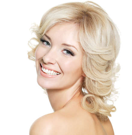 Beautiful happy portrait of an young adult blonde woman - isolated on white Stock Photo - 8347421