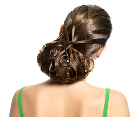 wedding hairstyle: Rear view of modern creative hairstyle isolated on white