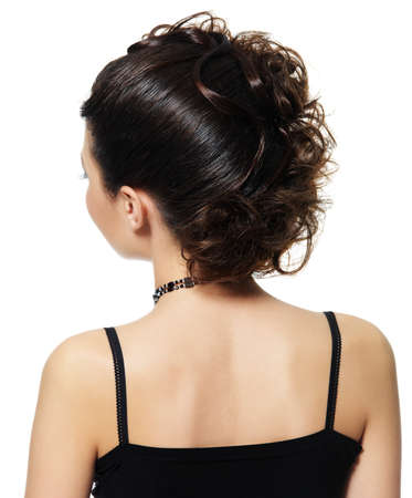 ringlet: Back view of a woman with beautiful hairstyle isolated on white background