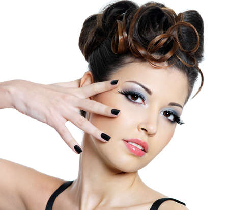 Fashion manicure and bright make-up for young beautiful woman - isolated Stock Photo - 8928560