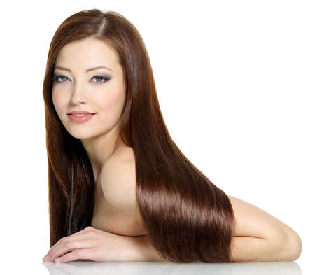 Beautiful gorgeous long straight hair of young sexy woman - white background Stock Photo - 9002508