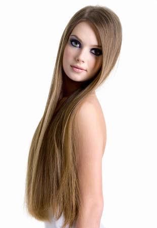 capelli lunghi: Ritratto di ragazza sexy con bei capelli lunghi - isolato su sfondo bianco Archivio Fotografico