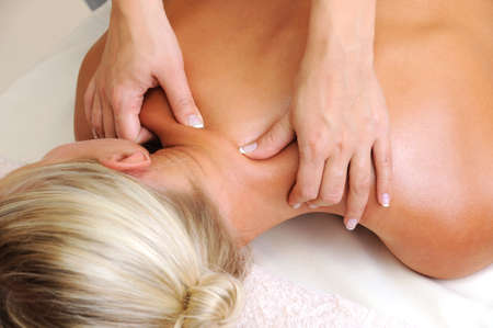 hands massage: Massage of body for young woman in beauty salon