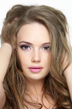Closeup portrait of beautiful pretty face of young girl - close-up portrait photo