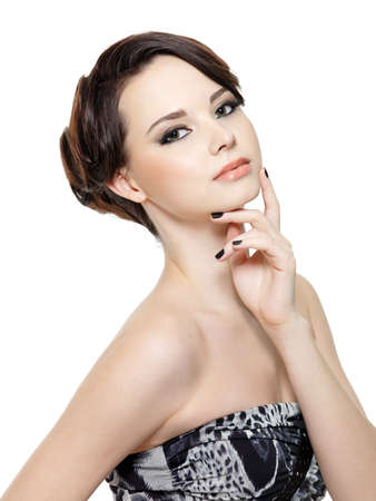 Beautiful glamour young woman with fashion make-up and manicure