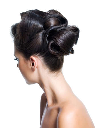hair back: Portrait of a adult girl with stylish curly  hairstyle