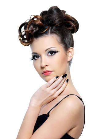 Portriat of woman with fashion hairstyle and and bright make-up with false eyelash - isolated photo