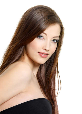 cute girl with long hair: Portrait of  beautiful young brunette woman with red hair - white background