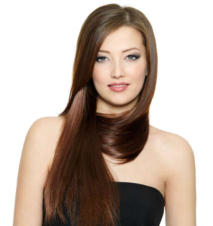 Beautiful young woman with gloss long straight hair - white background Stock fotó