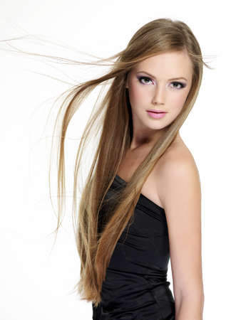 Beautiful sensuality teen girl with long straight hair isolated on white background photo