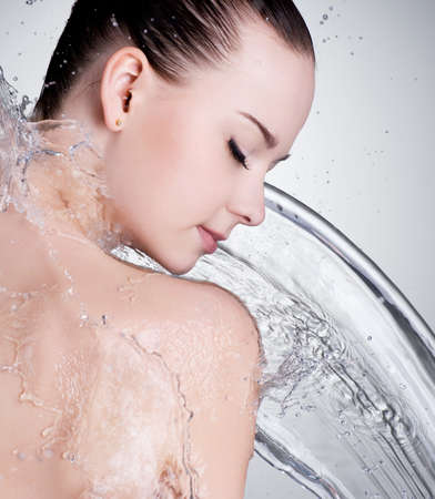 Portrait of beautiful female face with clean water - studio Stock Photo - 12349722