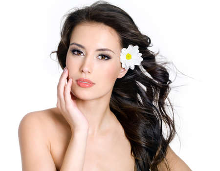 Beautiful sensuality  woman with fresh skin of face  - white background photo