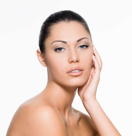 Perfect female face with healthy fresh skin  - on white background Stock Photo - 15693391