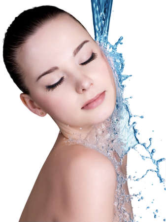 water concept: Beauty treatment concept of woman with blue water. Isolated on white backgrond Stock Photo
