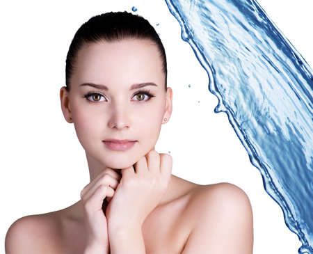 Beauty treatment concept of woman with blue water. Isolated on white backgrond Stock Photo