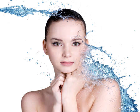 caucasian water drops: Beauty treatment concept of woman with blue water. Isolated on white backgrond Stock Photo