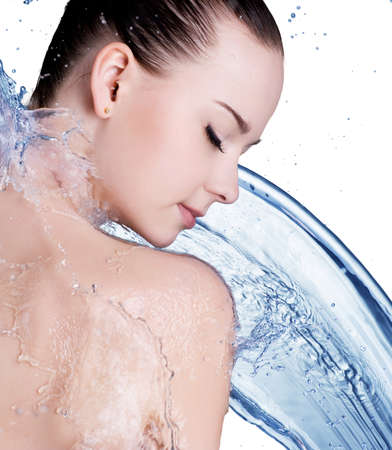 wet body: Beauty treatment concept of woman with blue water. Isolated on white backgrond Stock Photo