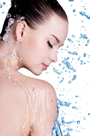 moisturize: Beauty treatment concept of woman with blue water. Isolated on white backgrond Stock Photo