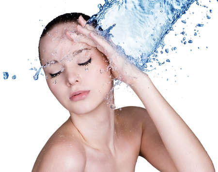 vertical wellness: Beauty treatment concept of woman with blue water. Isolated on white backgrond Stock Photo