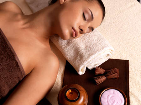 Recreation therapy for woman after massage in spa salon. Beauty treatment concept. Stock Photo - 16333997