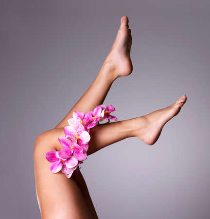 bare body women: Beautiful long female legs with flower. Beauty treatment concept