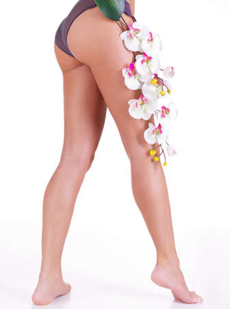 Beautiful  legs of woman after spa salon with flower - isolated on white background. Side view Stock Photo - 16410688