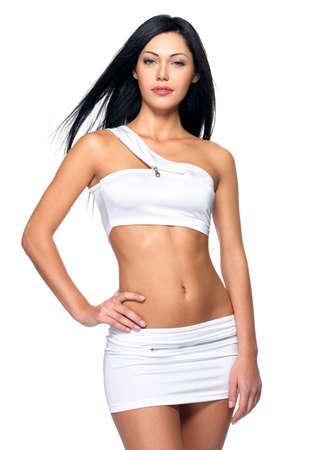 Beautiful woman with sporty slim body - studio shot Stock Photo - 16608265