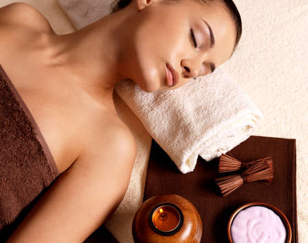 Recreation therapy for woman after massage in spa salon. Beauty treatment concept. Stock Photo - 16578468
