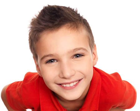 High angle portrait of adorable young happy boy looking at camera Stock Photo - 16578445