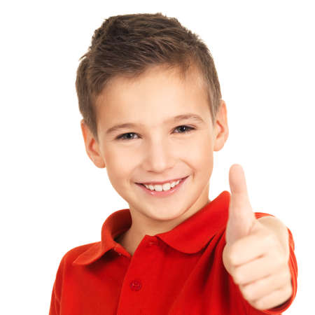 one little boy: Portrait of happy boy showing thumbs up gesture, isolated over white background